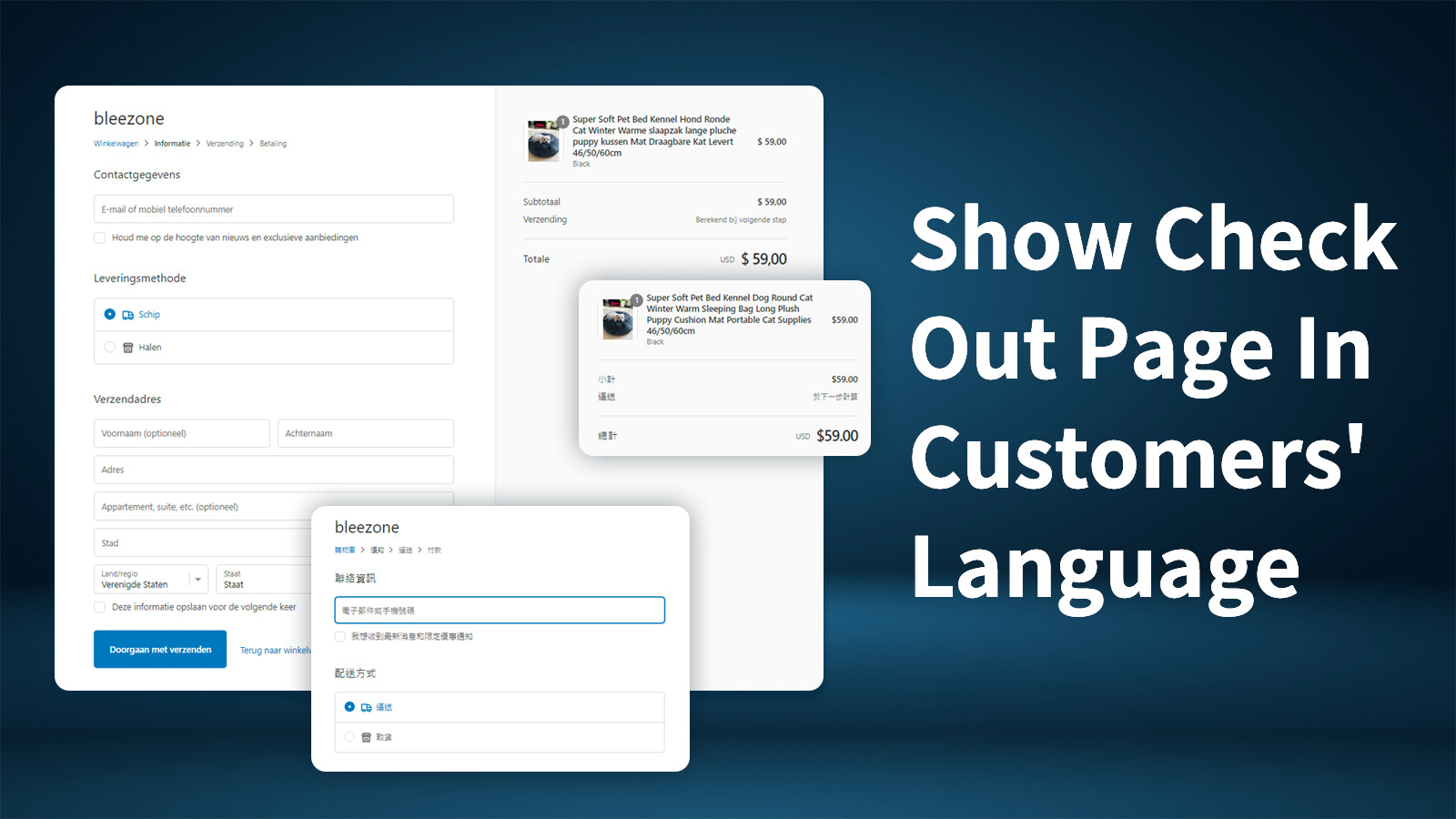 Show checkout page in customers' language