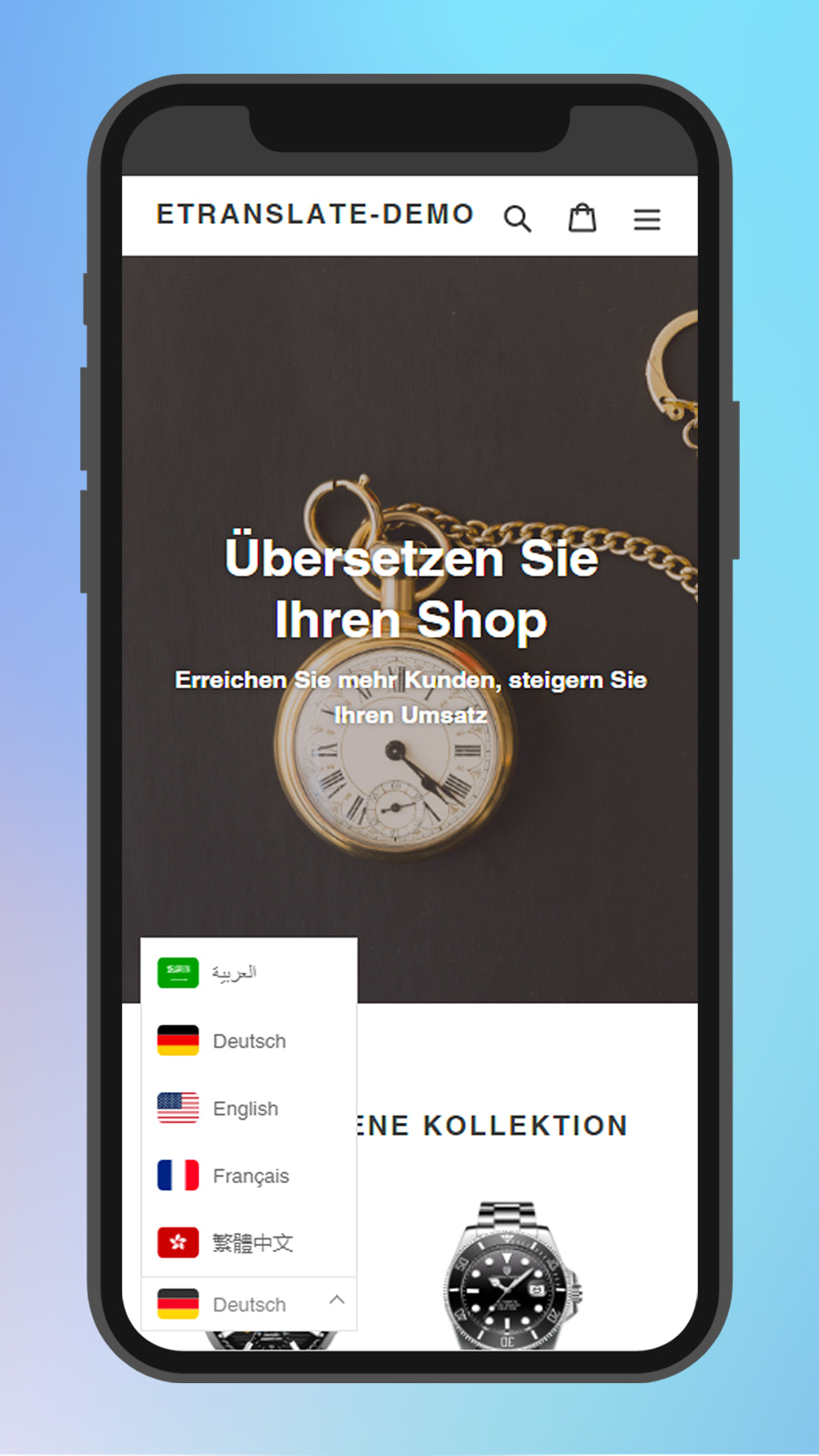 Customize language selector for your store