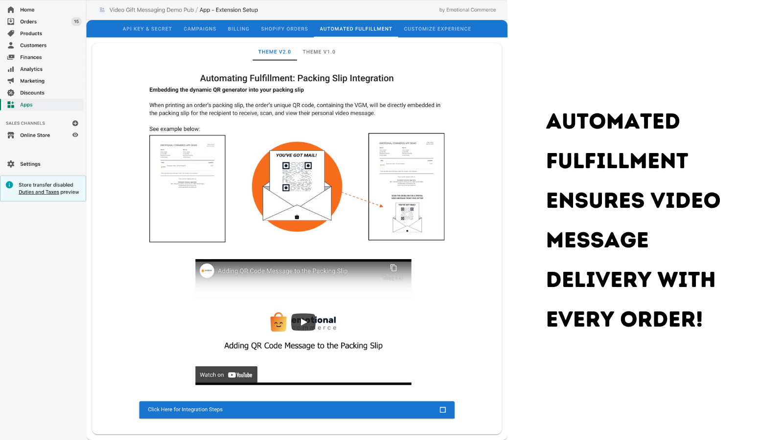 Automated fulfillment ensures video message delivery