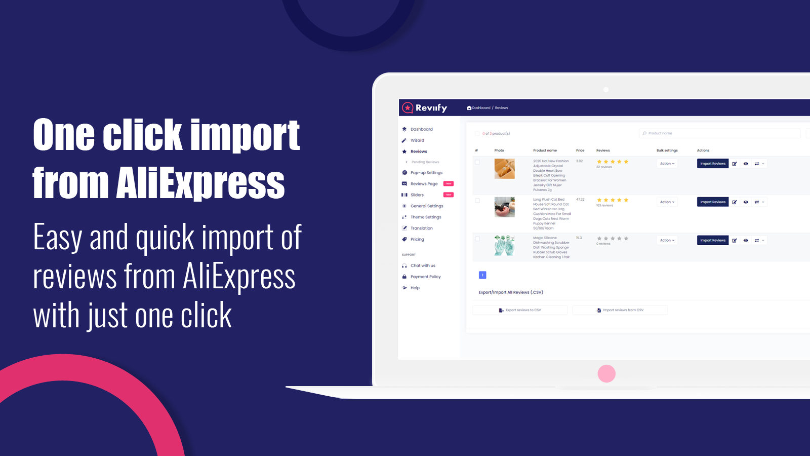 One click import from AliExpress - import AliExpress reviews