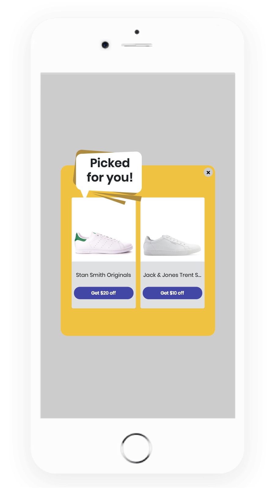 Mobile popup - Show personalized products