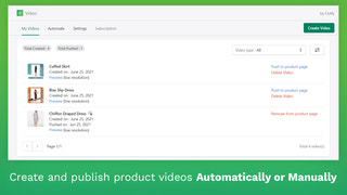 Create and publish product videos Automatically or Manually