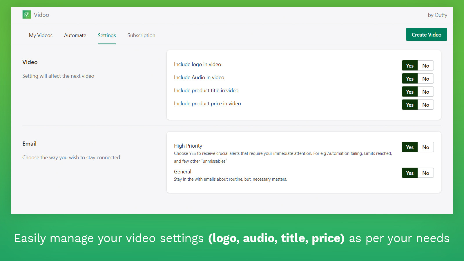 Easily manage your video settings(logo, audio, title, price)