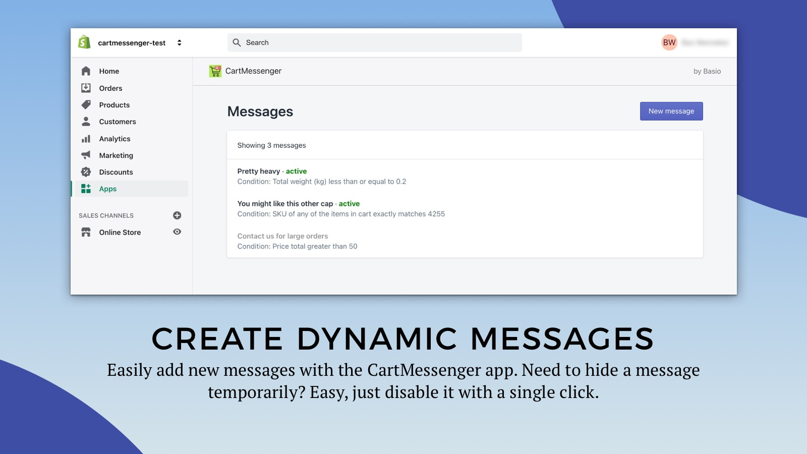 Create dynamic messages