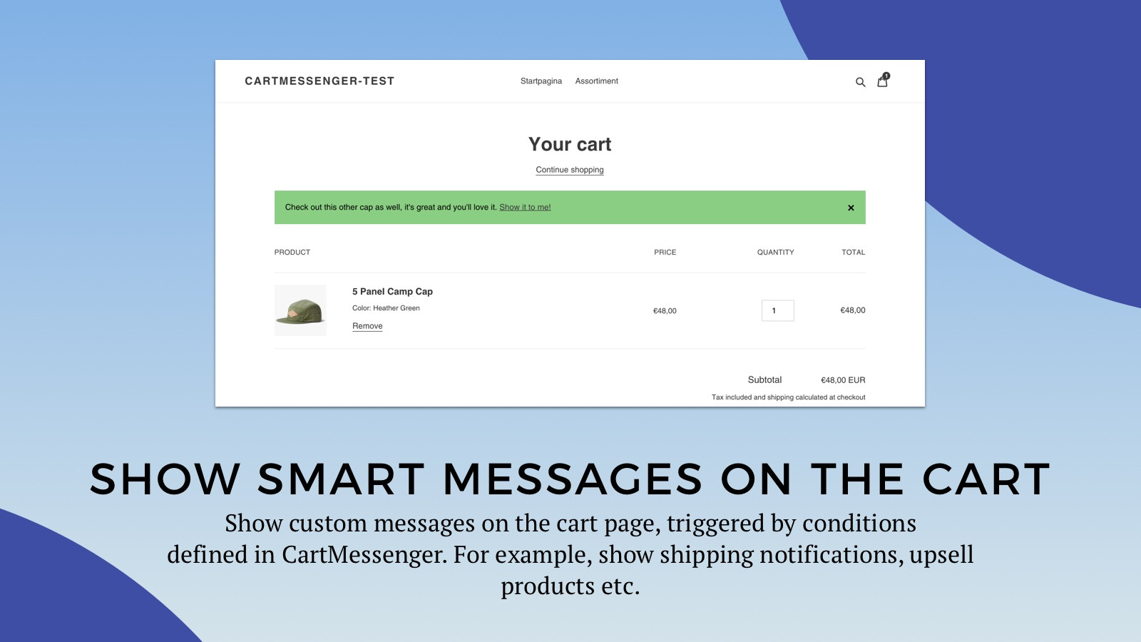 Show smart messages on the cart
