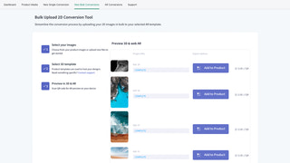 Seamless bulk upload and convert processing to AR