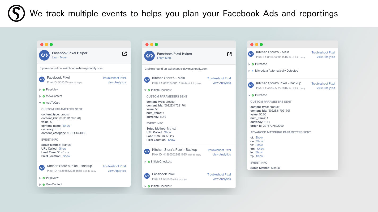 We track multiple events to helps you plan your Facebook Ads and