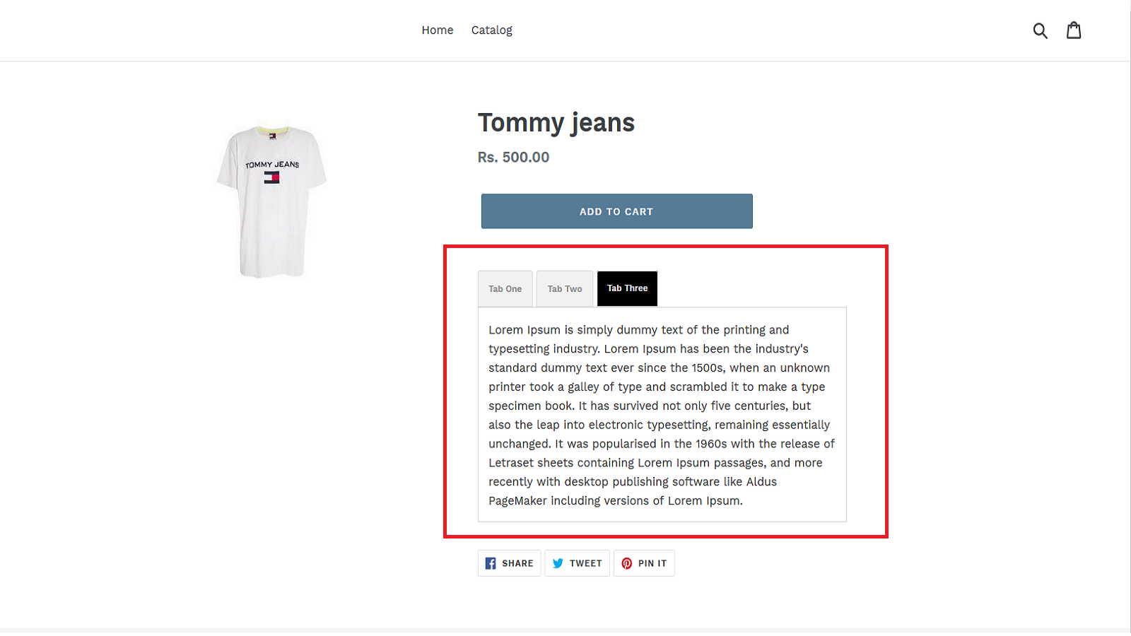 View tabs on product page