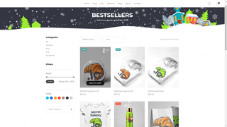 Example of subtle snowfall in online store.
