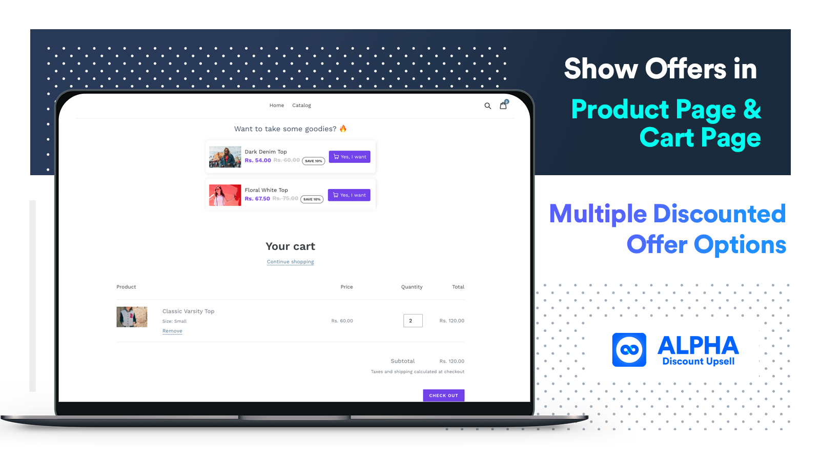 Place upsell offer in cart page and product page