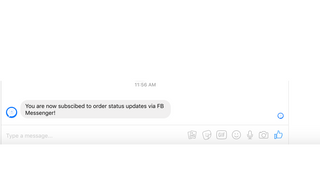 Order Status FB Messenger sign-up confirmation
