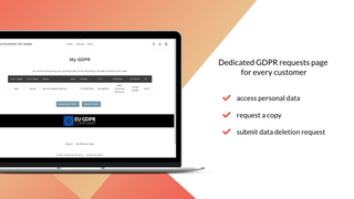 Shopify GDPR compliant banner –My GDPR Data page