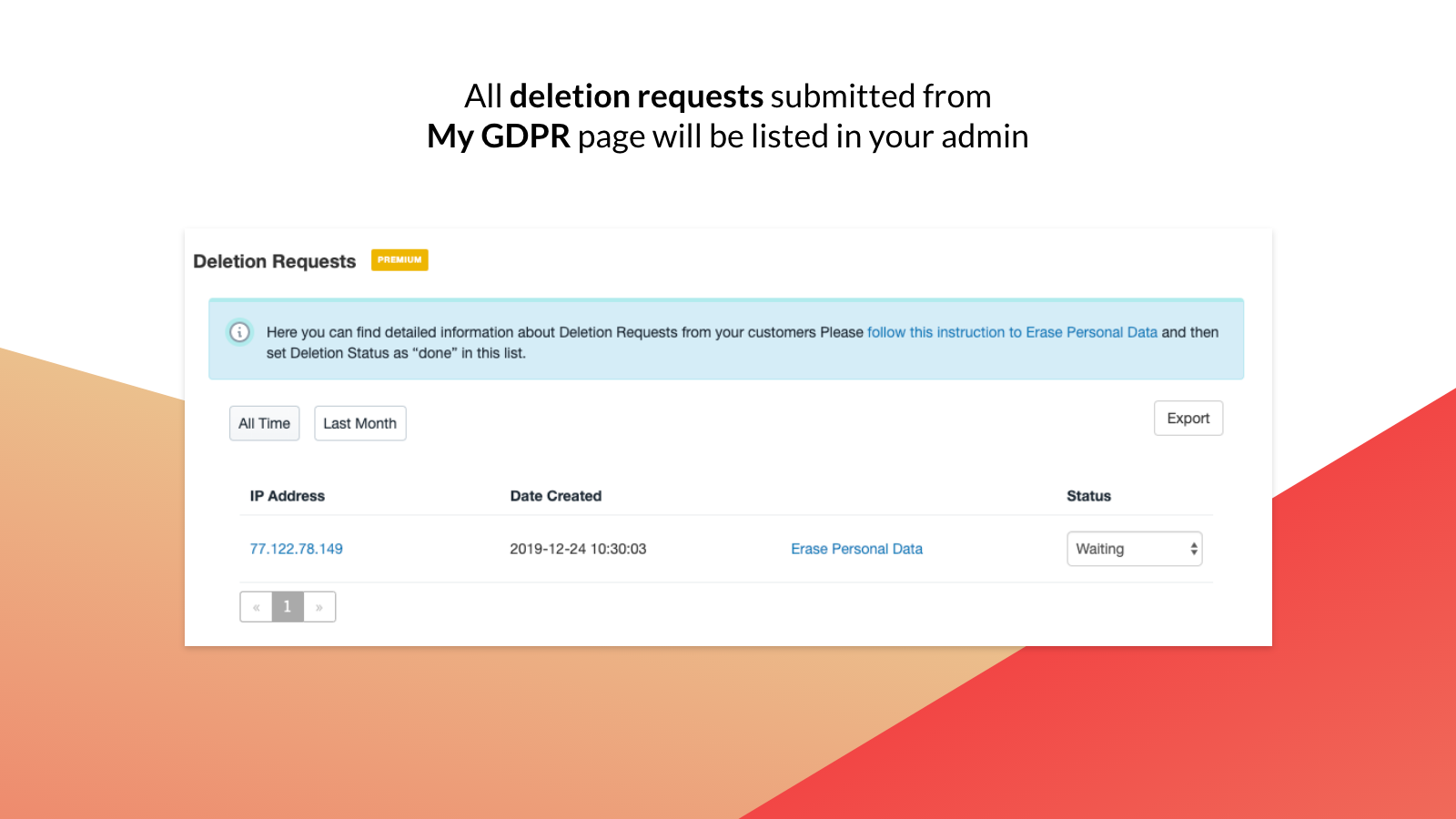 GDPR data deletion (removal) requests in app's admin