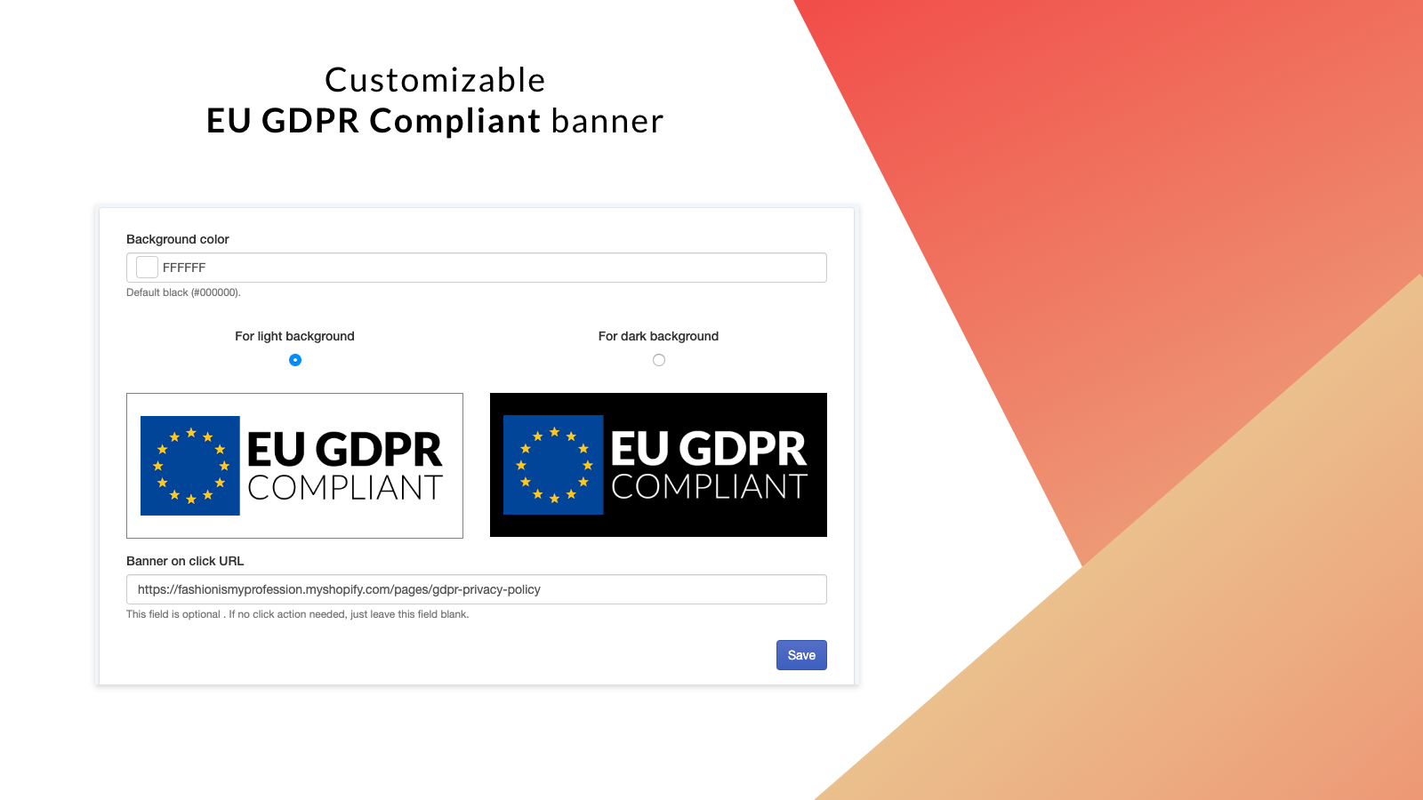 Shopify GDPR compliant banner –dark and light color schemes