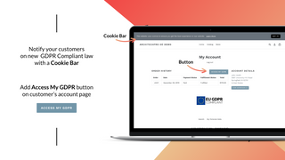 GDPR banner and cookie bar – Account section