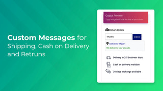 Custom Messages for Shipping, COD and Returns