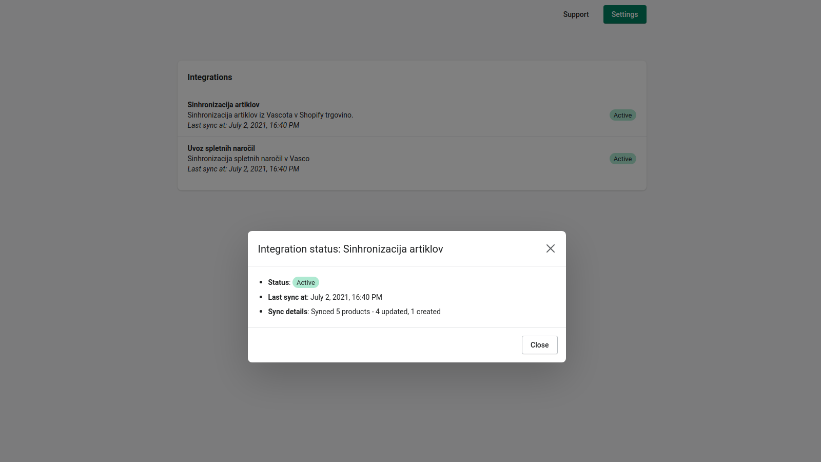 Track the progress and status of integrations