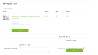 Example showing option in cart