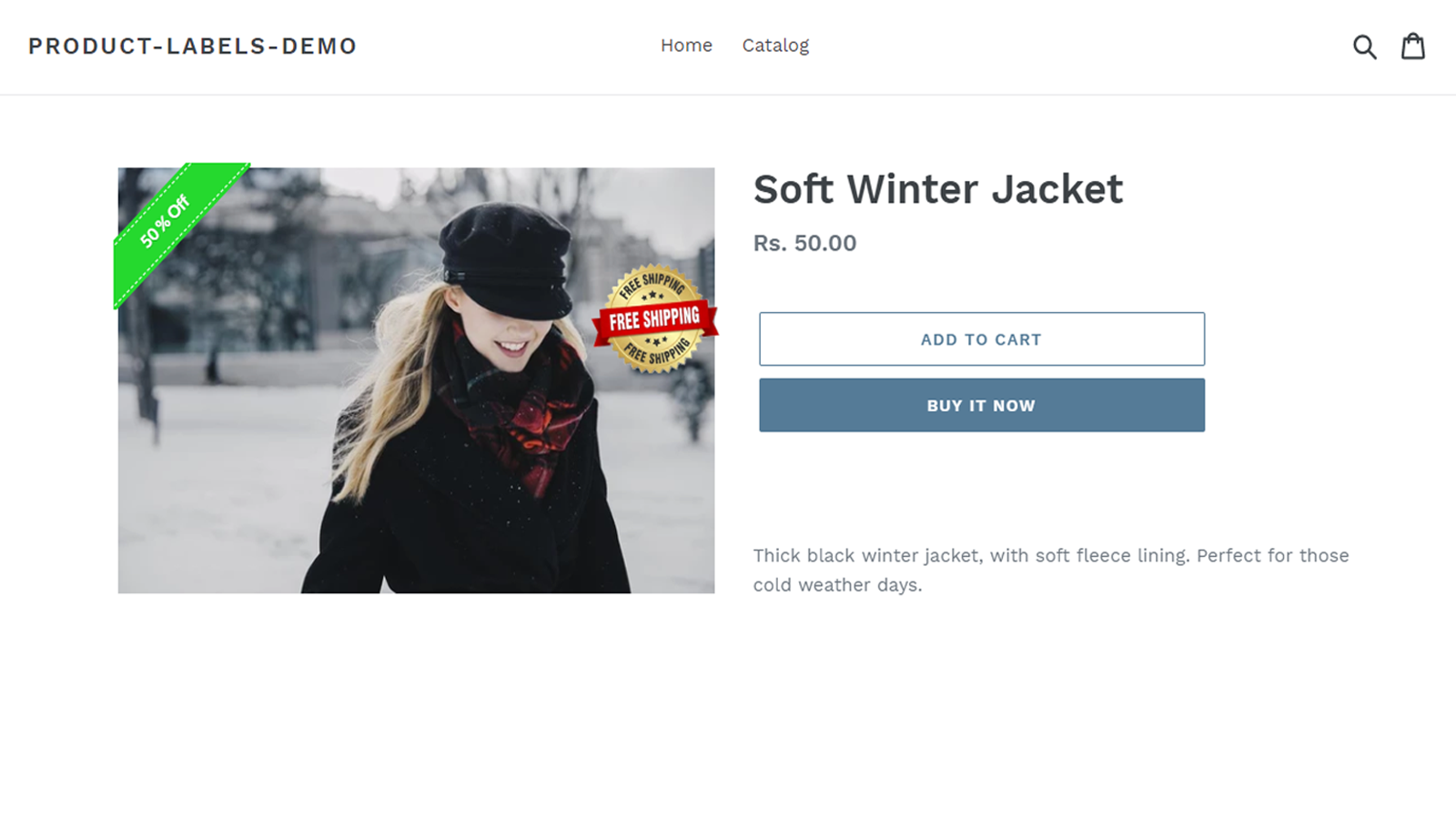 Elegantsy product labels on product details page