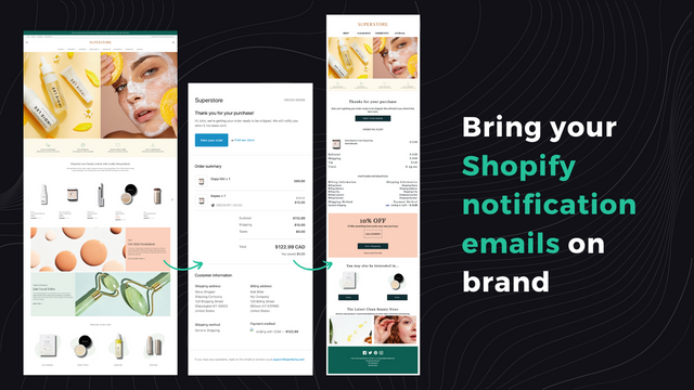 Bring your Shopify notification emails on brand