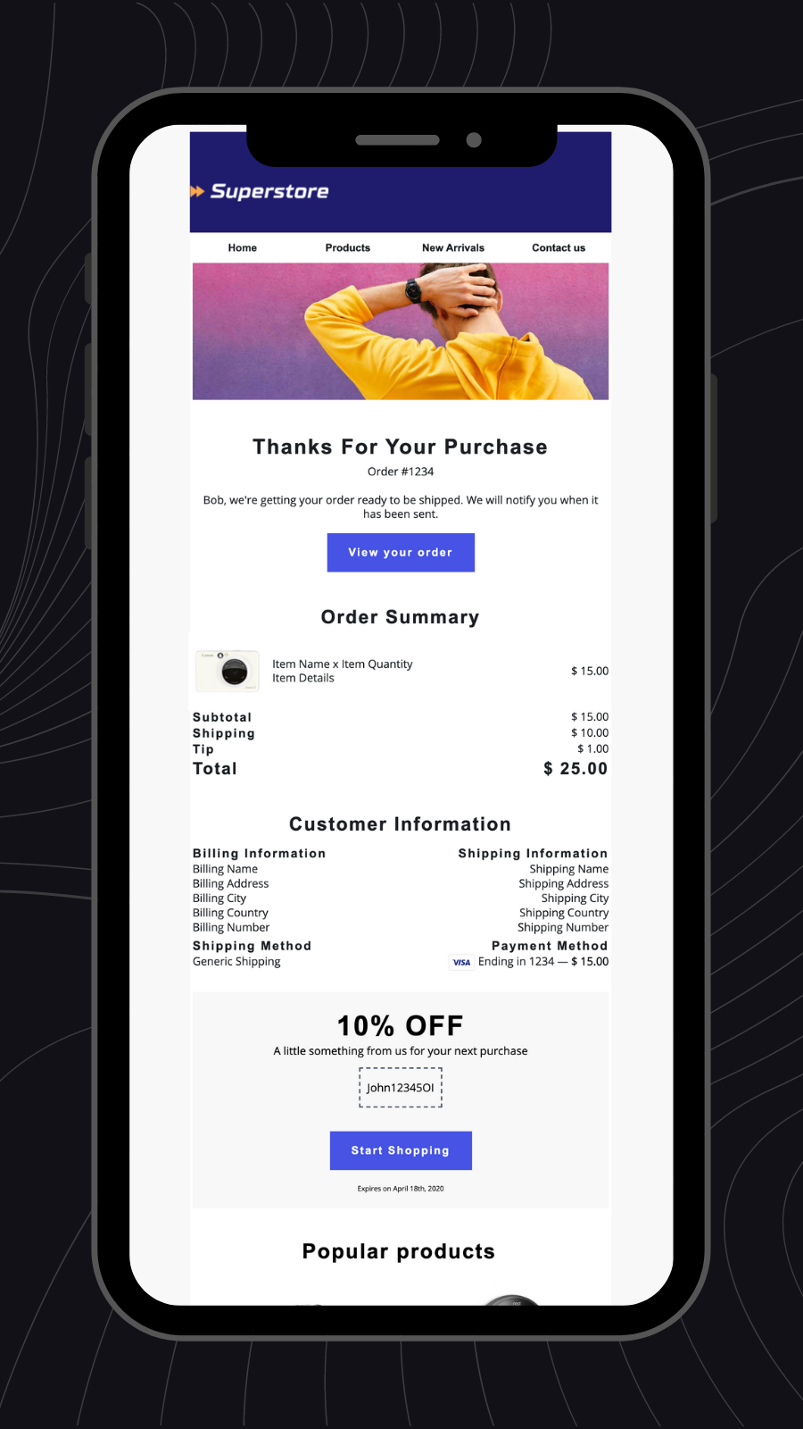Spently order confirmation on mobile