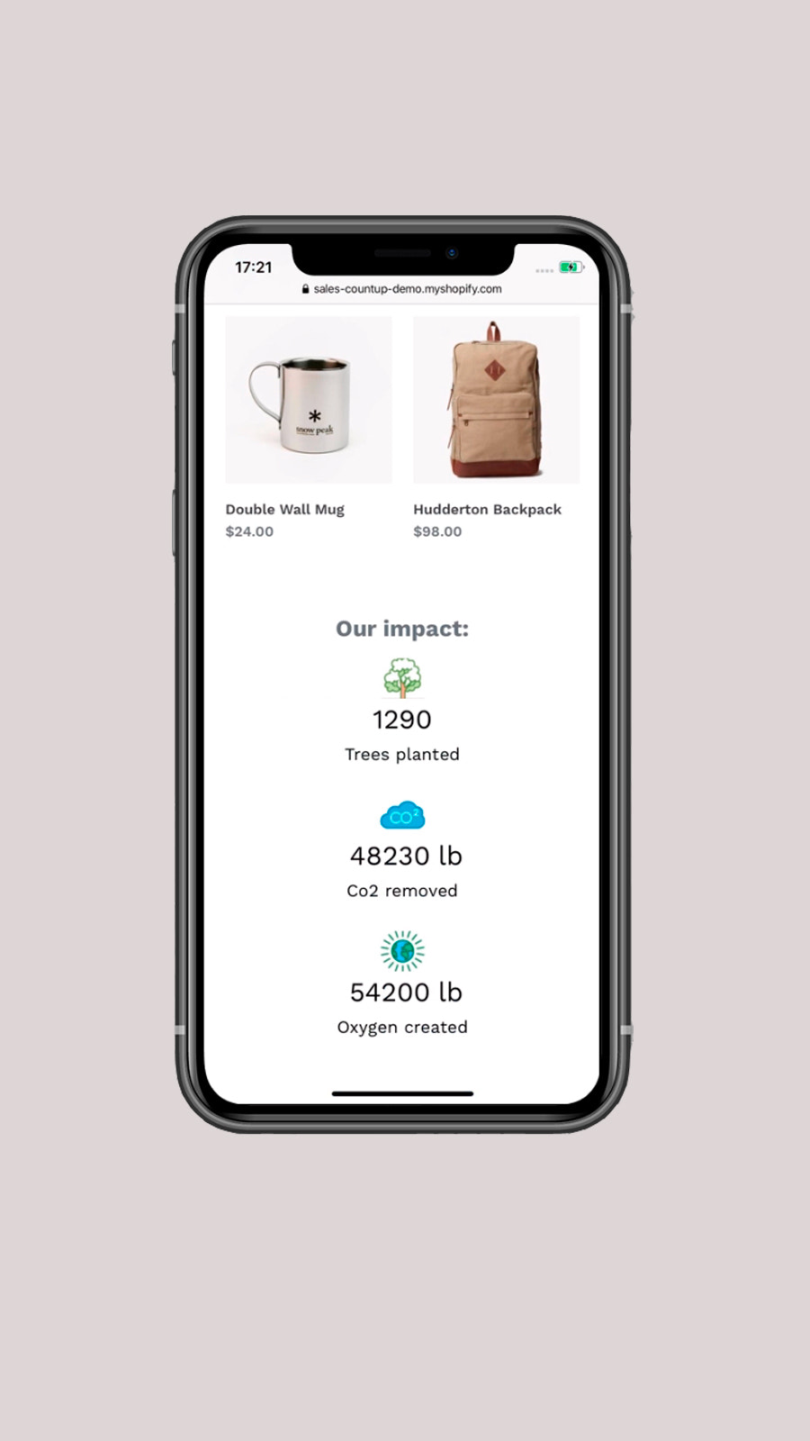 Countup widget mobile view