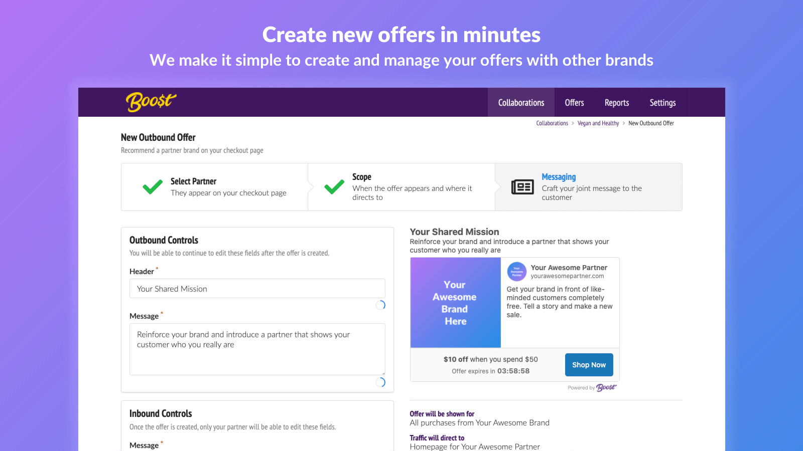 Create new offers in minutes