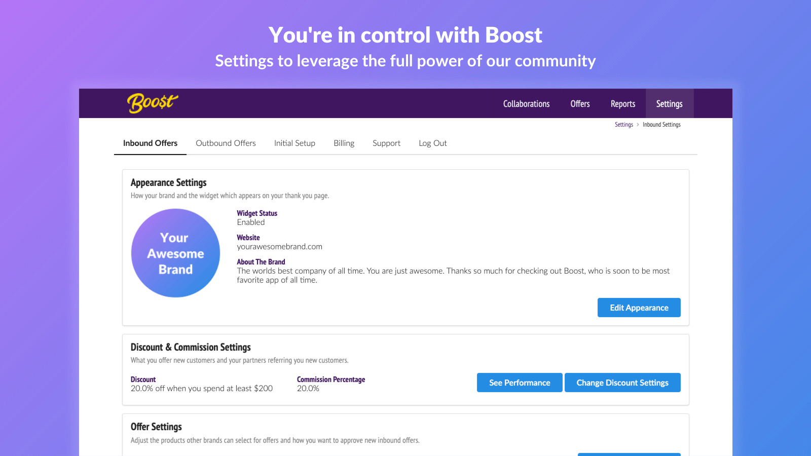 You're in control with Boost