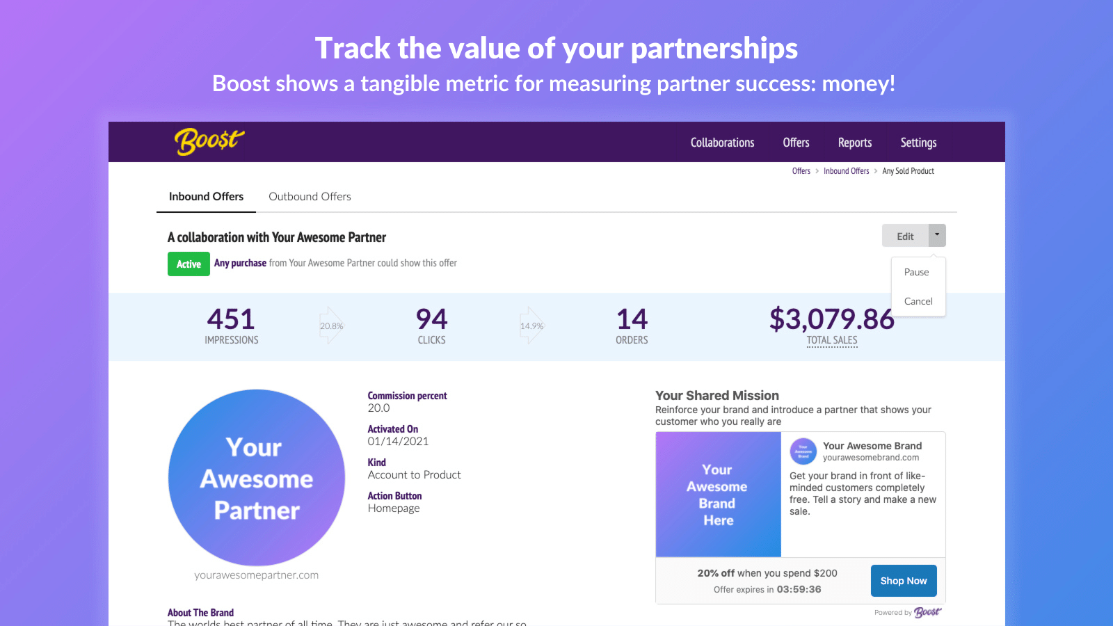 Track the value of your partnerships