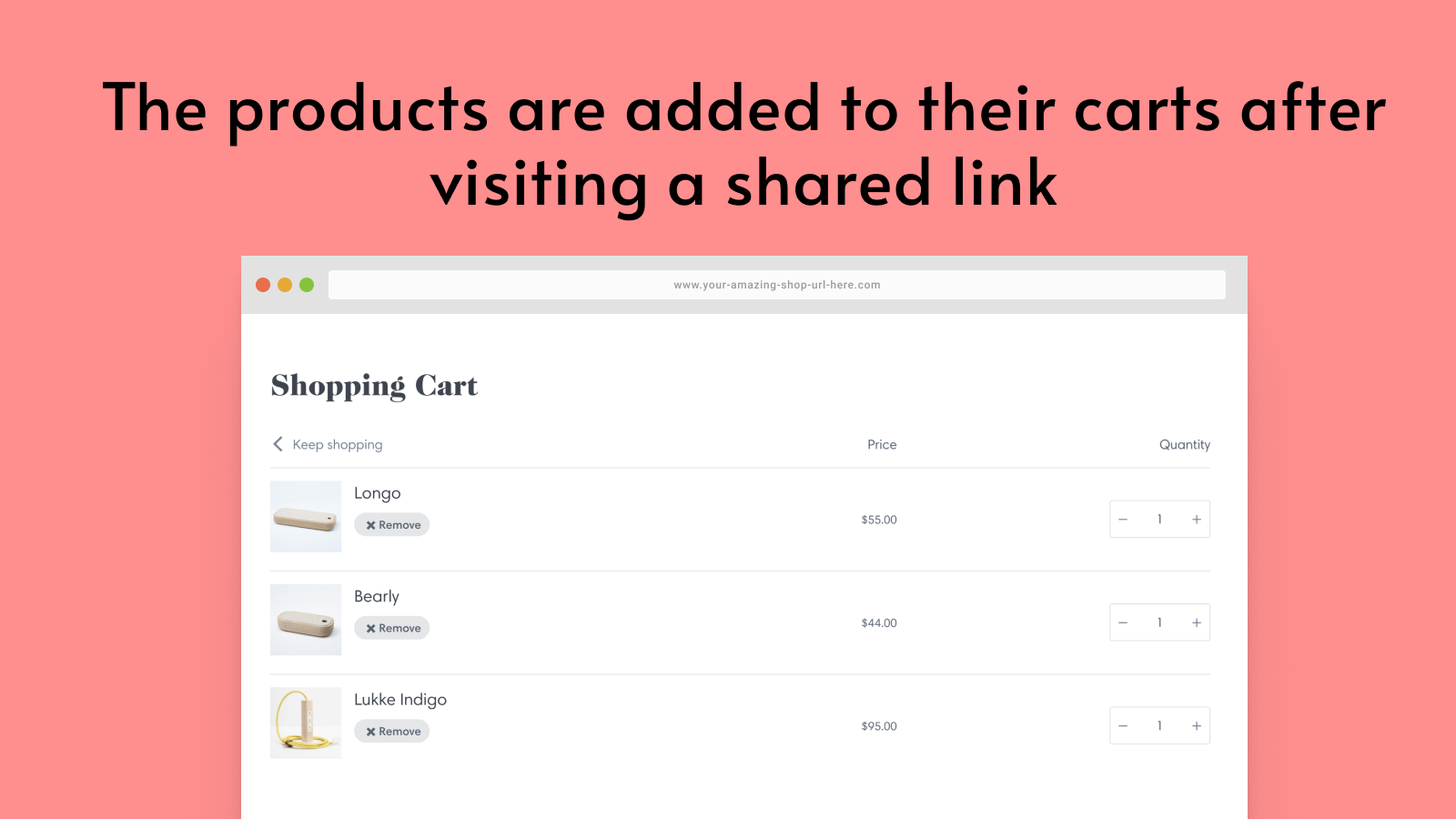 Anyone opening the link, will add the products to their cart.