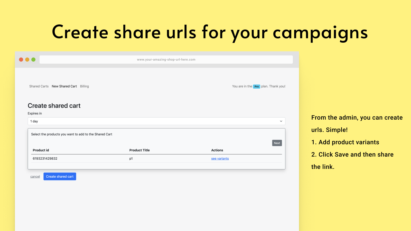 Create urls to share carts from the admin.