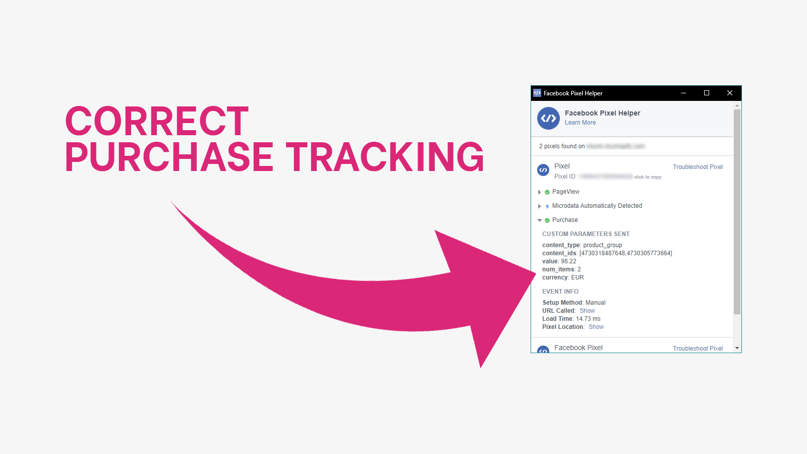 Correct Pixel purchase event tracking