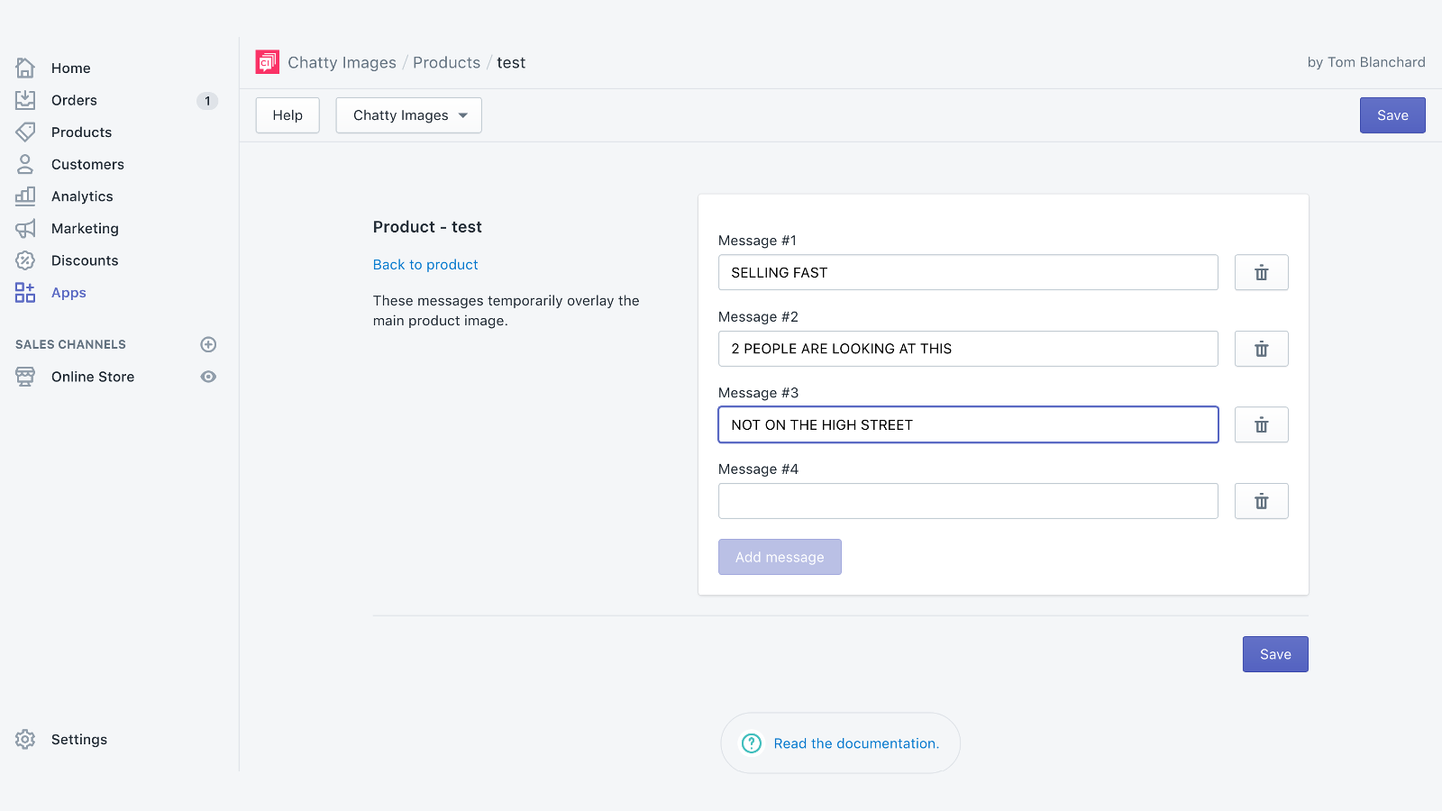 backend screenshot of chatty images messaging app with options