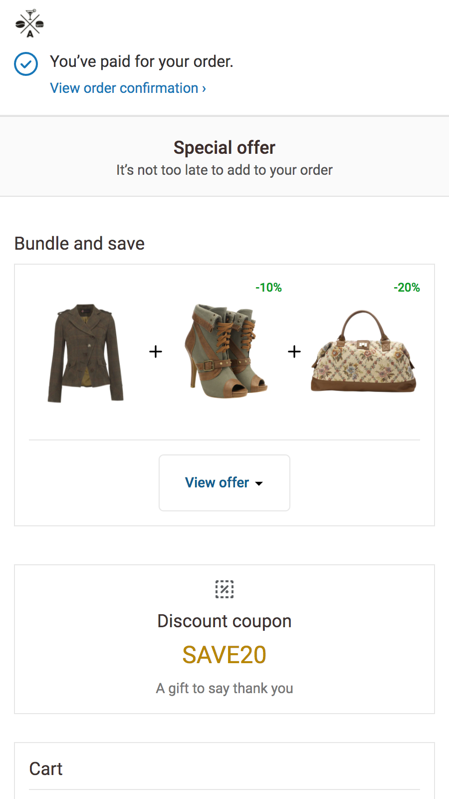 Checkout upsell offer, product with variant selector