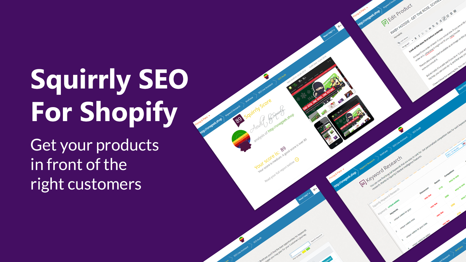 Squirrly SEO App - your pages in front of the right customers