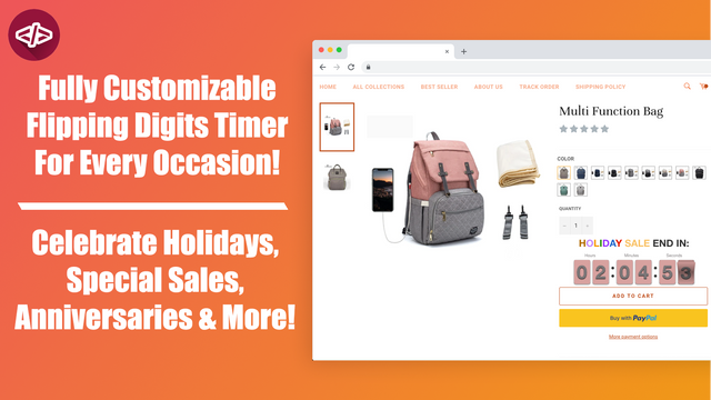 The countdown timer in a product page, above the add to cart