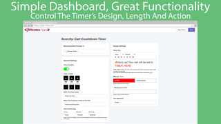 The dashboard of the application