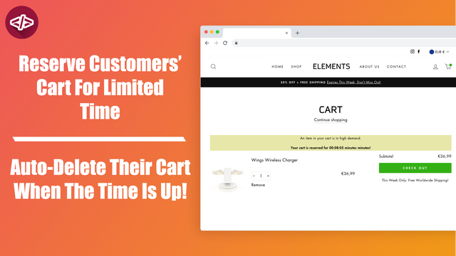 The countdown timer app in action in the cart page