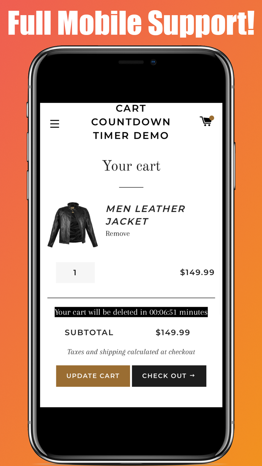 The countdown timer app in action in a mobile version of a store