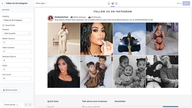Instagram Feed Configure in Theme Editor