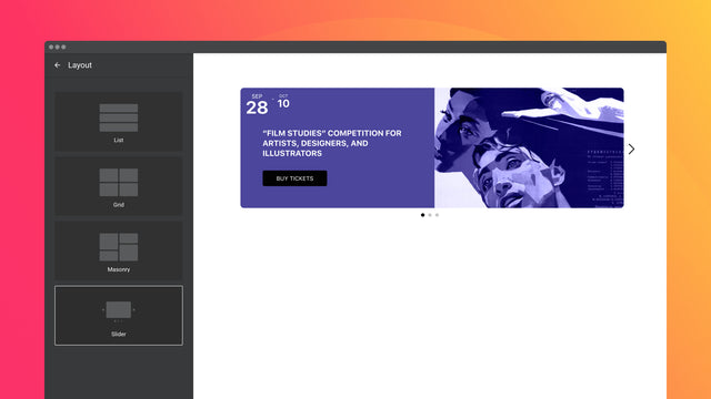 Four layouts for best positioning of the widget on the page