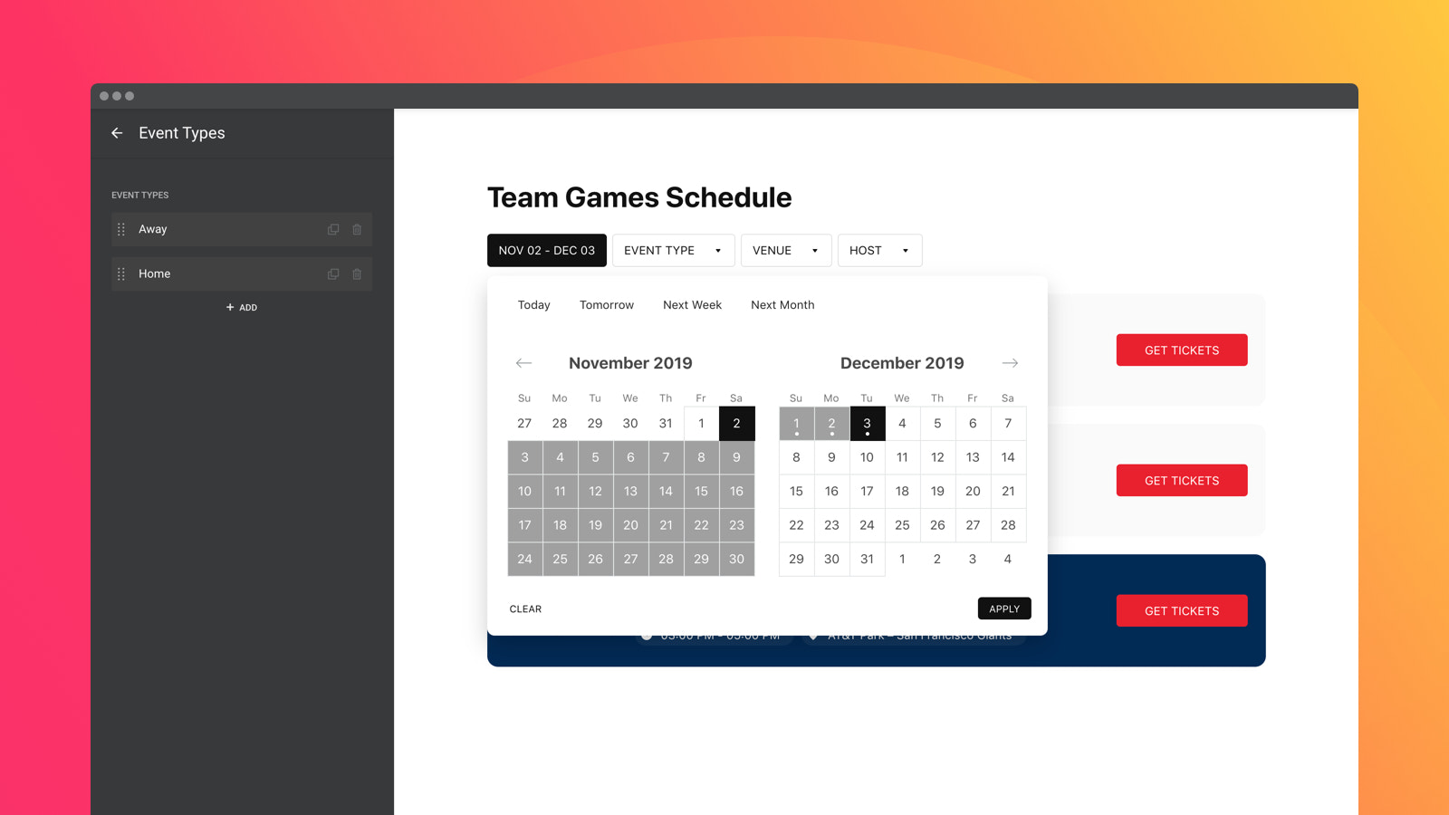Create your own event types and let users sort them