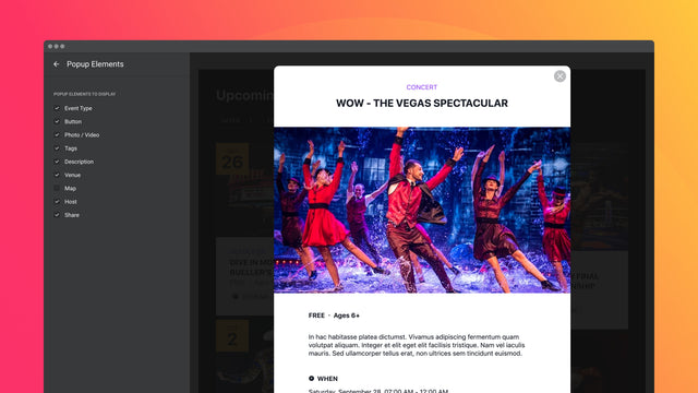 9 switchable popup elements to tell more about the event