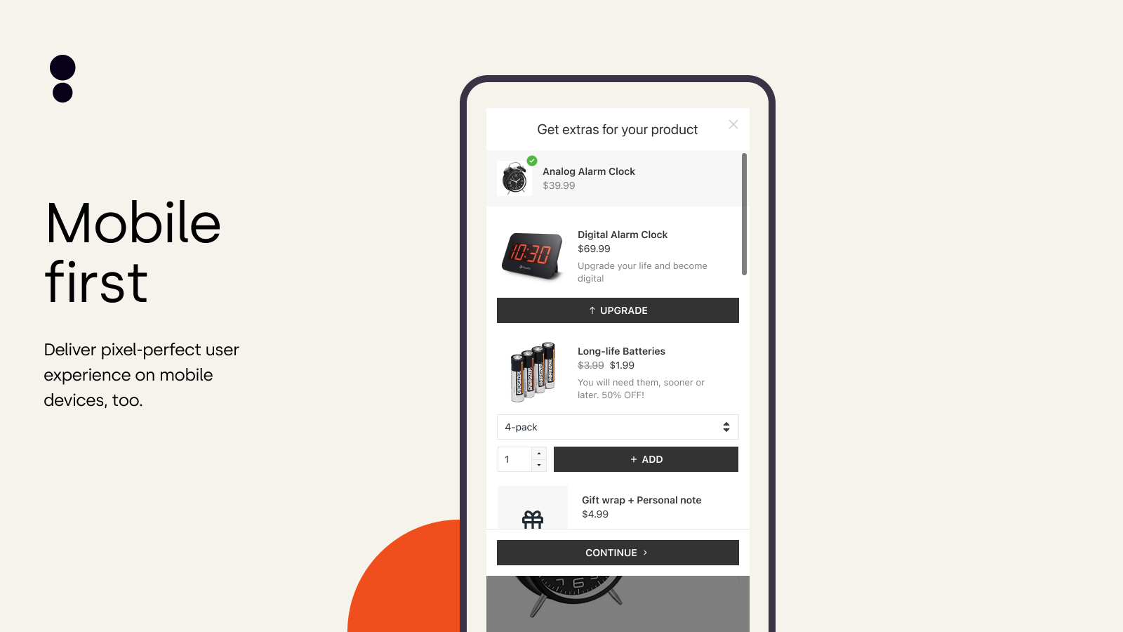 Mobile Upsell Pop Up – Slick & Polished Mobile Experience
