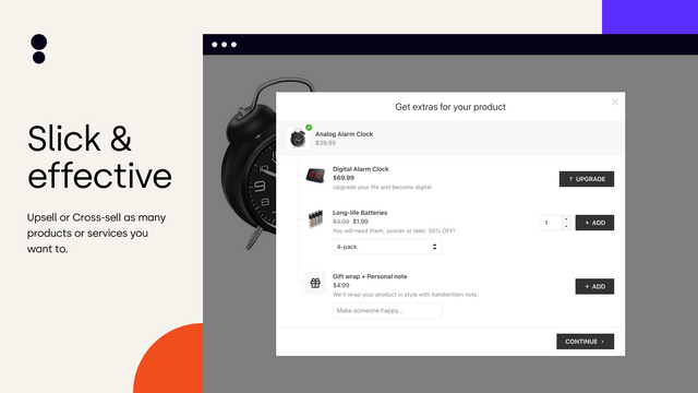 Slick upsell pop-up looks great on both mobile and desktop