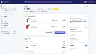 Walmart order in Shopify panel.