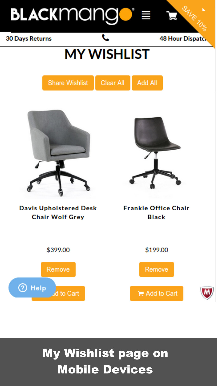 My Wishlist page generated by Smart Wishlist on Mobile Devices