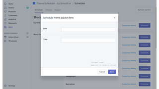 Select date, time and theme that you want to be published next