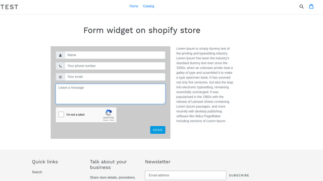 The widget on pages of a shopify store