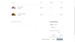 Local Delivery and Store Pickup to delivery areas using zipcodes